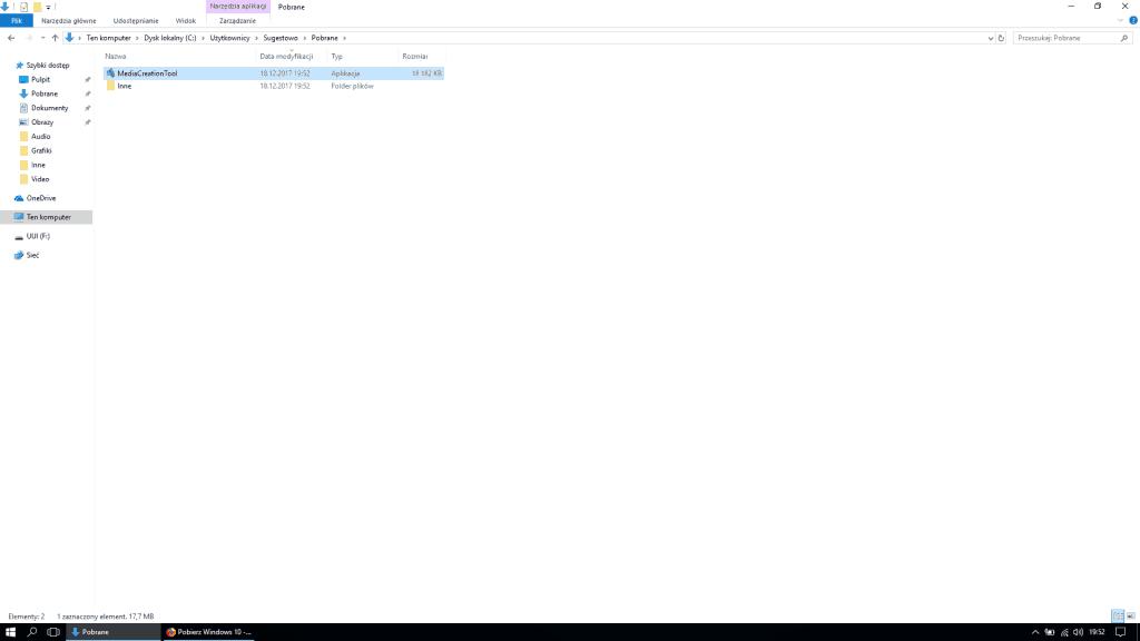 Uruchomienie Instalatora Windows 10
