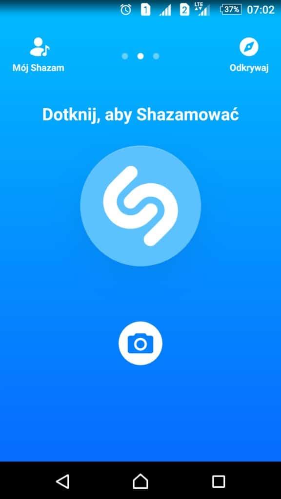 Shazam_ekran_startowy_zamiast_sprawdzania_tekstu_piosenki