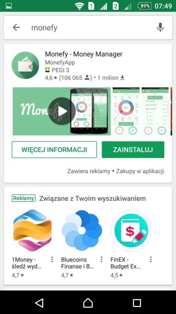 Instalacja Monefy Google Play