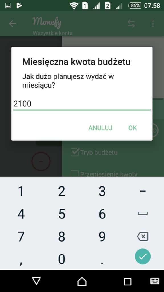 Monefy - Ustawienie Trybu budzetu - 2100 zł