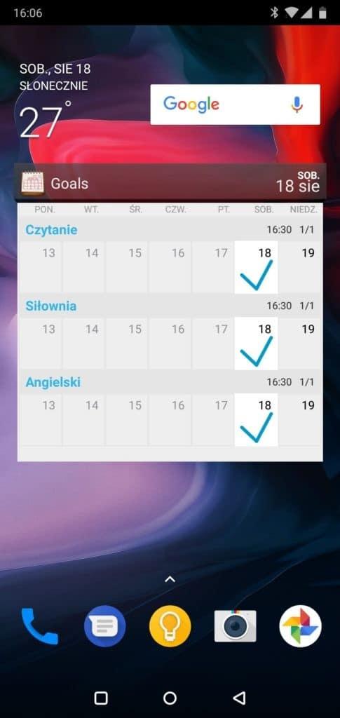 Ekran_glowny_Android_wraz_z_widgetem_śledzenie_postępów