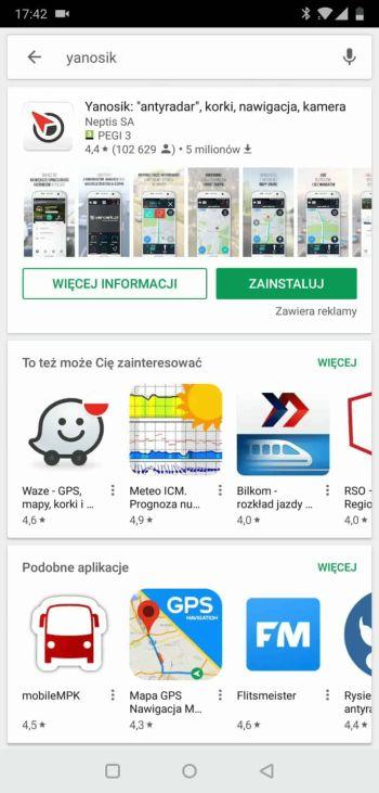 Yanosik - instalacja z Google Play