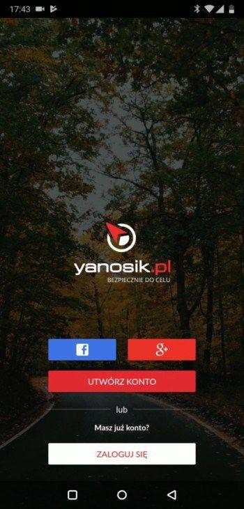 Logowanie Yanosik - kontem Google