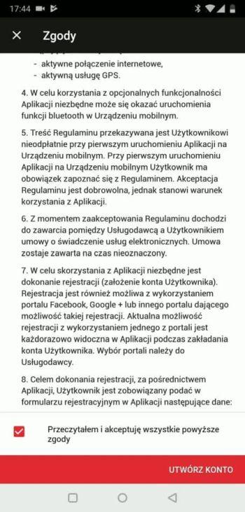 Yanosik - regulamin