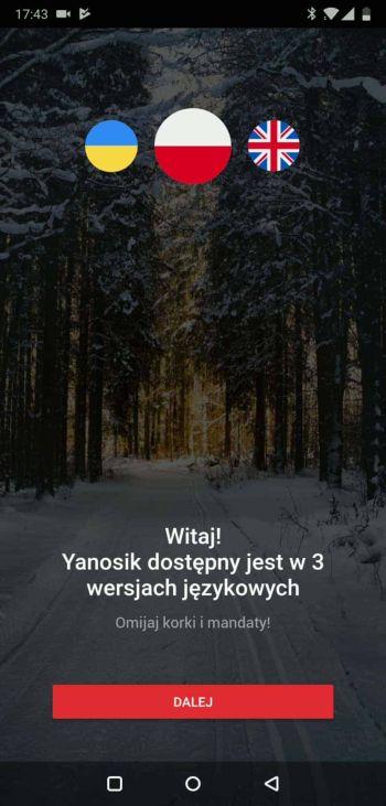 Aplikacja Yanosik - pierwsze uruchomienie