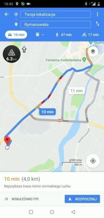 Google Maps - podgląd trasy nawigacji