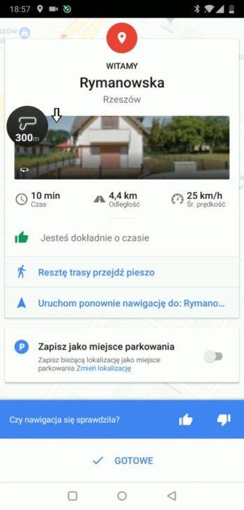 Ekran - dojechano na miejsce - Google Maps