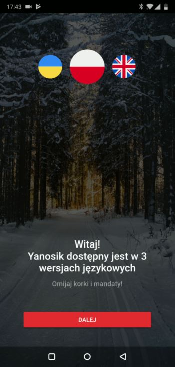 Wybór języka - aplikacja Yanosik