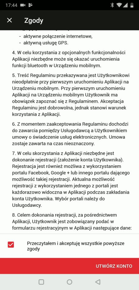 Akceptacja regulaminu - Yanosik