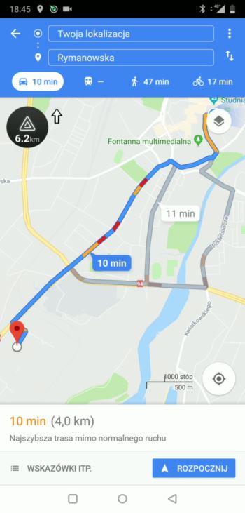 Trasa z Google Maps
