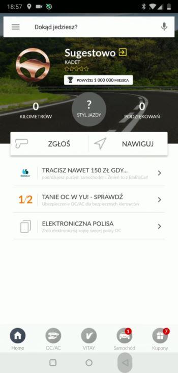 Ekran główny - aplikacja Yanosik