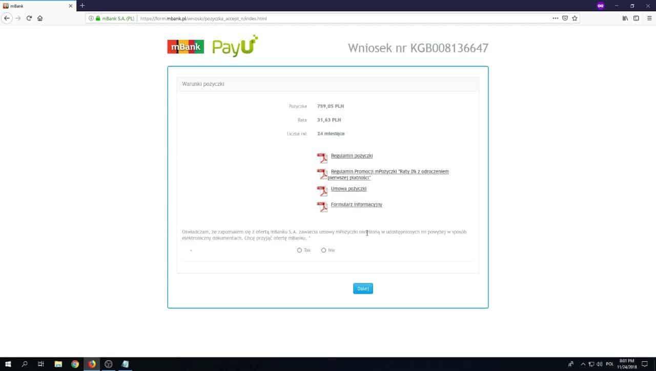 Decyzja o przyznaniu pożyczki 0% na allegro z mBanku
