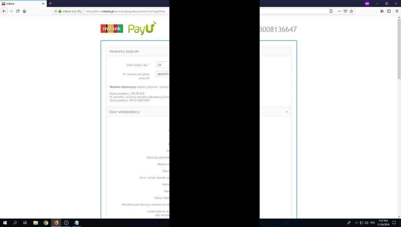 Potwierdzenie danych wniosku kredytowego na raty 0%
