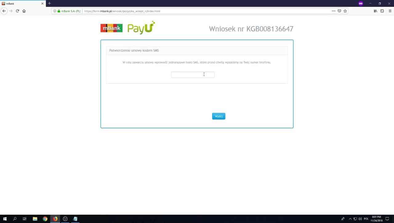 Potwierdzenie kodem SMS umowy pożyczki - mBank