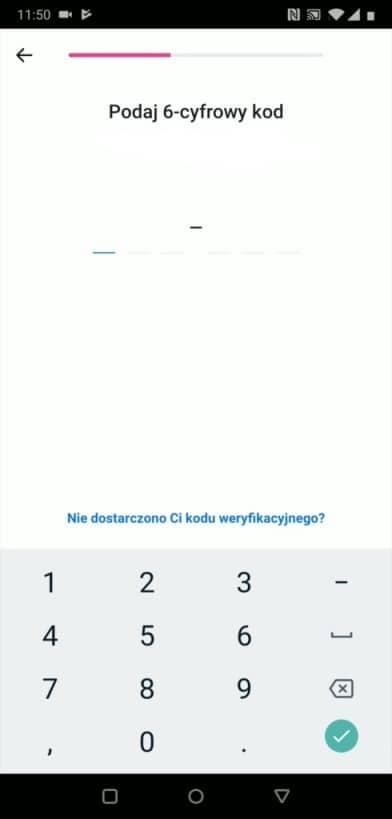 Podanie kodu sms - potwierdzenie numeru telefonu