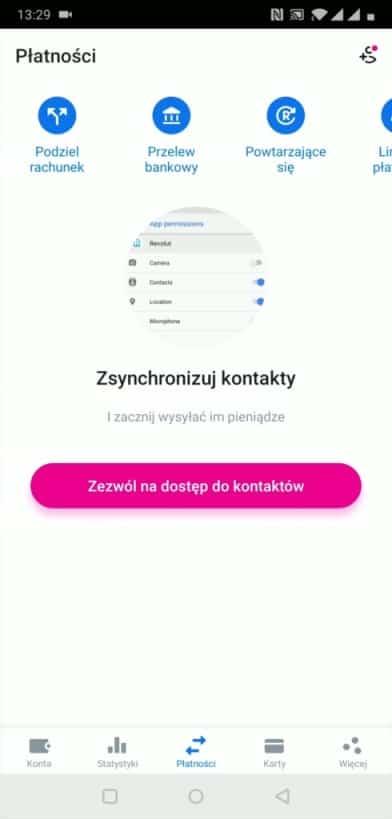 Sekcja Płatności w aplikacji Revolut