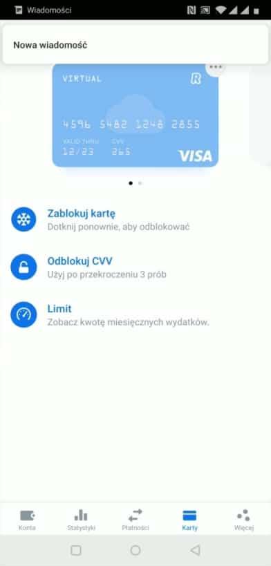 Wirtualna karta Revolut do płatności w internecie