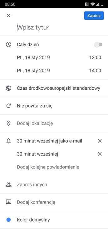 Kalendarz Google - Dodanie wpisu do kalendarza - Aplikacja mobilna