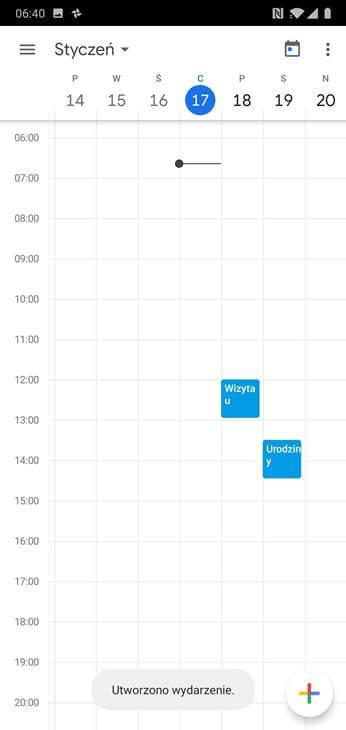 Kalendarz Google - Przykładowe wpisy - wizyta u dentysty i urodziny - Mobile