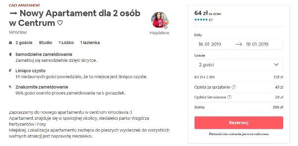 airbnb - rezerwacja apartamentu dla dwoch osob