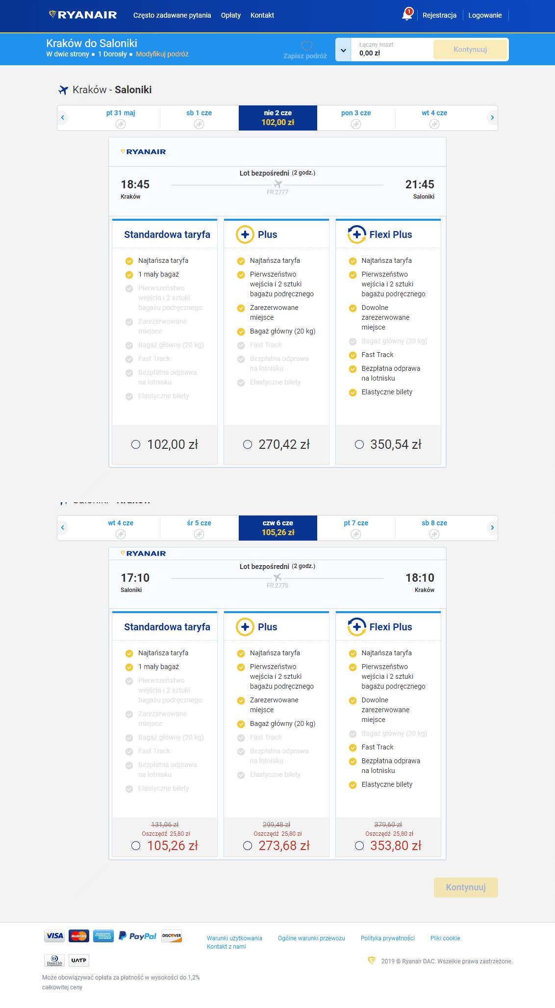 Ryanair dokonywanie rezerwacji - sprawdzenie cen Kraków Saloniki