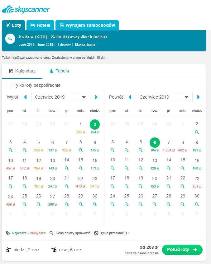 Skyscanner - kalendarz z cenami podróży