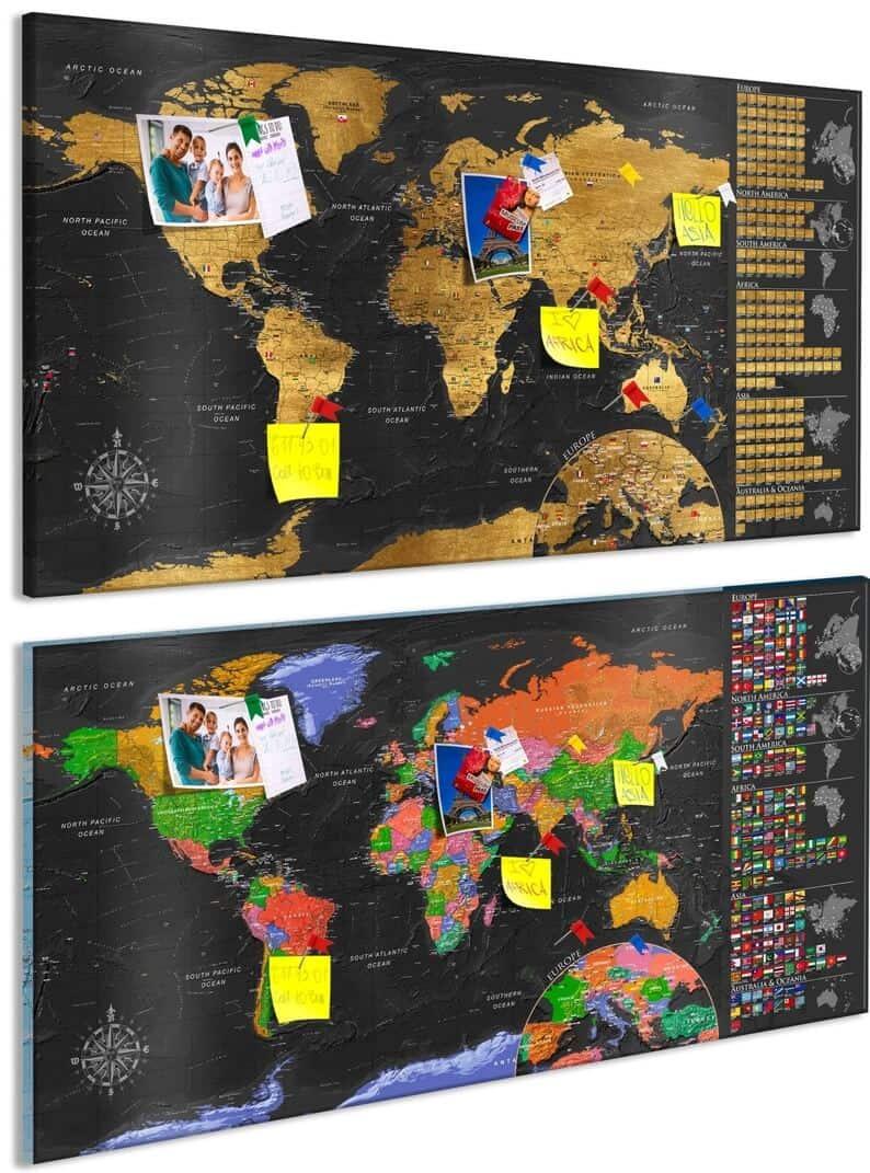 Mapa zdrapka na tablicy korkowej