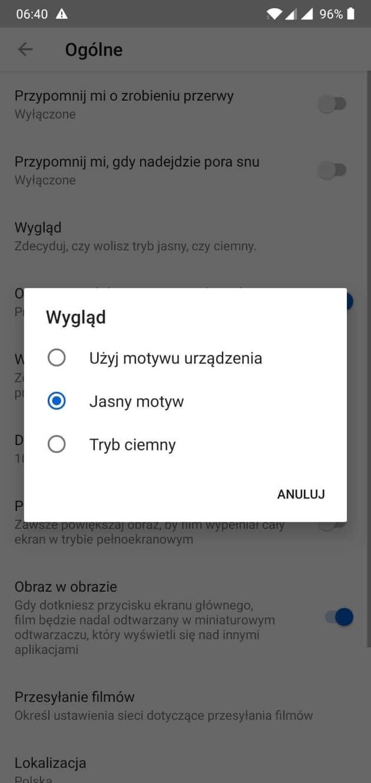 Wybranie trybu ciemnego w aplikacji mobilnej - YouTube